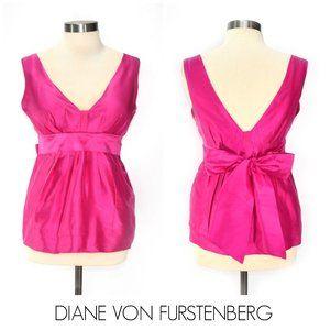 DIANE VON FURSTENBERG Hot Pink Silk Sleeveless Top